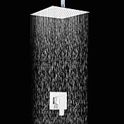 現代風 壁式 レインシャワー with  セラミックバルブ シングルハンドル二つの穴 for  クロム , シャワー水栓