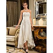 Corte en A Sin Tirantes Asimétrica Tul Vestido de novia con Apliques Botón por LAN TING BRIDE®