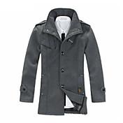 男性用 プレイン カジュアル コート,長袖 ナイロン,ブラック / グレー