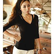 INNA女性の黒のセクシーなVネックスキニーロングスリーブコットンシャツ