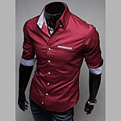 男性用 プレイン カジュアル シャツ,長袖 コットン ブラック / ブルー / レッド / ホワイト