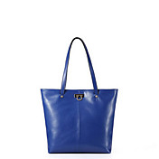 MEFAs Einfache Solid Color echtes Leder-Umhängetasche (blau)