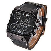 Oulm Pánské Vojenské hodinky Náramkové hodinky Křemenný Japonské Quartz Hodinky s dvojitým časem Kůže Kapela Černá Černá