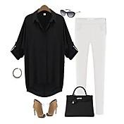 女性 オールシーズン シャツ シャツカラー ソリッド ホワイト ブラック グリーン ポリエステル 長袖 薄手