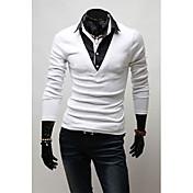 Vのヴィンテージフェイク2個入り長袖スリムTシャツ(ホワイト)