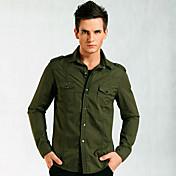 Senyue Hombres camiseta Pure Color de manga larga de algodón