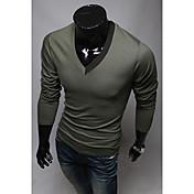 TizelandメンズカジュアルVネックベースのTシャツ
