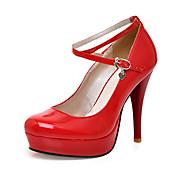 Mujer-Tacón Stiletto Plataforma-PlataformaOficina y Trabajo Vestido-Cuero Patentado-Negro Rojo Blanco