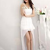 女性のセクシーな白いガーゼナイトクラブアリ不規則な服装