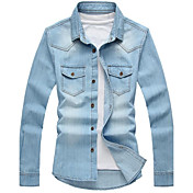 cuello de la camisa del dril de algodón camisa de manga larga de los hombres 219 un