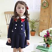 Vestido Chica deUn Color-Algodón-Otoño / Primavera-Azul / Gris