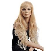 larga peluca de pelo rizado de alta calidad de oro