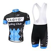 XAOYO ビブショーツ付きサイクリングジャージー 男性用 半袖 バイク 洋服セット 速乾性 高通気性 後ポケット ポリエステル ポリエステル100% パッチワーク 夏 サイクリング/バイク ブルー