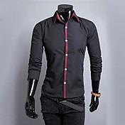 男性用 フラワー カジュアル / オフィス / フォーマル シャツ,長袖 コットン ブラック / ブルー / レッド / ホワイト