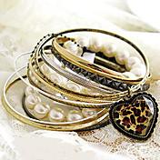 d&leopardo del corazón de la perla x-2 de las mujeres de la pulsera de la vendimia