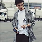 男性用 チェック カジュアル / オフィス / フォーマル トレンチコート,長袖 コットン / ポリエステル