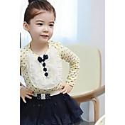 de encaje de punto de manga larga camiseta de algodón versión coreana de la niña
