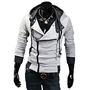 Lesen Men's Hoodie Fashion Contrast Color Oblique Zipper Casual Hoodie O
