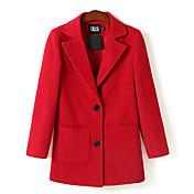 nuevo abrigo de lana de doble hebilla de la solapa de Castiel barry mujeres