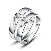 regalo personalizado simples 925 parejas anillos de plata esterlina