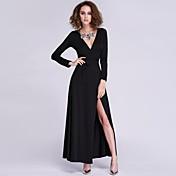 女性の深いVネックセクシーな気質長袖スリットドレス(色以上、送料無料)