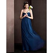 vaina / columna correas de espagueti longitud del piso de seda vestido de dama de honor con drap criss cruzar lan ting novia ®