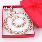 ジュエリーセット 真珠 人造真珠 真珠 ゴールドメッキ ゴールデン ジュエリーセット 結婚式 パーティー 1セット ネックレス イヤリング・ピアス ブレスレット ウェディングギフト