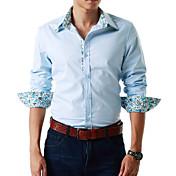男性用 プレイン カジュアル シャツ,長袖 コットン混 ブルー / ホワイト
