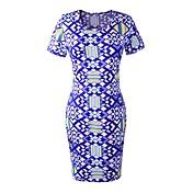 女性のラウンドカラーの幾何学プリントラップドレス