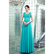 ビーズサイドドレープ付きシース/コラムVネックフロアレングスシフォンフォーマルイブニングドレス