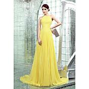 シース/コラムハイネックチャペルトレインシフォンドレープサイドドレープ付きフォーマルイブニングドレス
