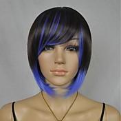azul mezcla pelucas cortas de moda de las mujeres negras del partido de Cosplay con explosión lateral