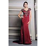フォーマルなイブニングドレス - ビンテージのインスピレーションを得たトランペット/マーメイドのVネックの床の長さのサテンとレースのプリーツ