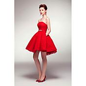 ajuste de una línea& flare strapless corto / mini vestido de fiesta de cóctel de satén con pliegues de marco / cinta