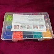 doudouwo® twistz bricolaje goma bandz pulseras kits de color del arco iris estilo telar para niños grandes 15 de cuadrícula