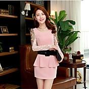 膝のドレス(シフォン/ポリエステル)上記yibeier®女性のカジュアル/プリント長袖