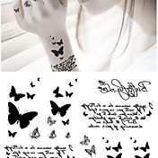 Séries Animal Tatuagem Adesiva - Non Toxic/Lombar/Waterproof - para Bebê/Criança/Feminino/Masculino/Adulto/Adolescente - de Papel - Cinzento/Preta -