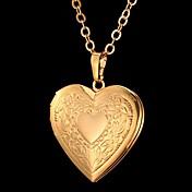 女性 ペンダントネックレス ハート フラワー ファッション 彫刻 ゴールド シルバー ジュエリー パーティー 誕生日