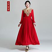 yalun® vestido de manga larga de las mujeres de la vendimia delgada ocasional