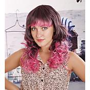 mujeres multicolor sintético ondulado peluca de 14 pulgadas