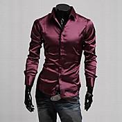 Camisa De los hombres Un Color Casual / Trabajo / Formal / Tallas Grandes-Seda / Mezcla de Algodón / Elástico / Satén-Manga Larga-Negro /