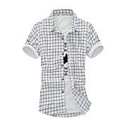 Camisa De los hombres A Cuadros Casual-Algodón-Manga Corta-Azul / Blanco