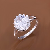 Feminino Maxi anel Jóias de Luxo bijuterias Zircão Zircônia Cubica Prata Chapeada Jóias Para Casamento Festa Diário Casual