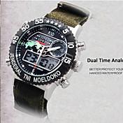 男性 リストウォッチ LED カレンダー クロノグラフ付き 耐水 2タイムゾーン アラーム デジタル ナイロン バンド ブラック グリーン