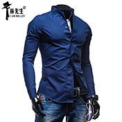 男性用 プレイン カジュアル シャツ,長袖 コットン混 ブラック / ブルー