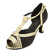 Zapatos de baile (Oro) - Salón de Baile/Danza latina/Salsa - Personalizados - Tacón Personalizado