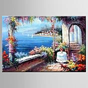 手描きの 花柄/植物の / 抽象的な風景画田園 / 欧風 1枚 キャンバス ハング塗装油絵 For ホームデコレーション