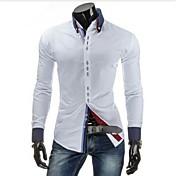 MEN カジュアルシャツ ( コットン/コットンブレンド/ポリエステル ) カジュアル ワイシャツカラー - 長袖