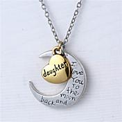 亜鉛合金心と月の娘は私が月とバックのネックレスにあなたを愛し