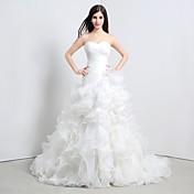 Vestido de noiva de organza trenha da catedral da princesa, com ruffle em cascata